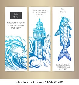 Vector illustration sketch sea food Restaurant menu.
