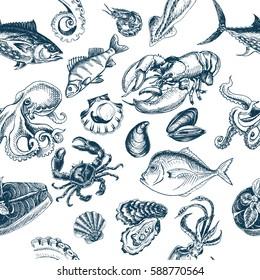 Vector illustration sketch - seafood pattern.