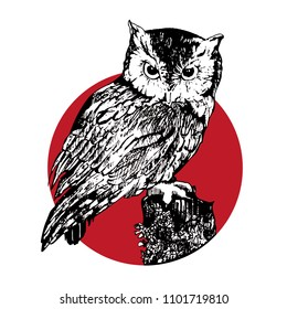 Vector illustration in sketch style. Owl showing up in red circle. Good for stickers, tattoo design, prints on t-shirts, fabric bags, sweatshirts, rucksacks.