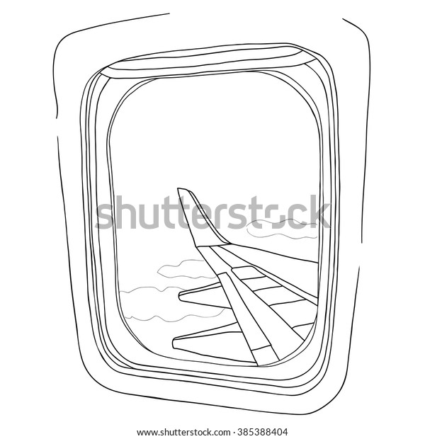 Vector Illustration Sketch View Airplane Window Stock Vector