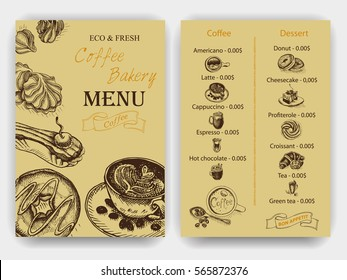 Vector illustration sketch - Vintage Menu. coffee and bakery.