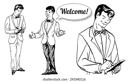 vector illustration sketch waiters take orders and welcomes guests on a white background