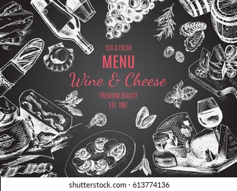 Vector illustration sketch -wine and cheese Card Menu restaurant. vintage design template, banner.