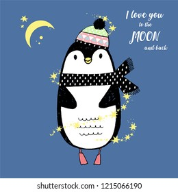 Vector illustration of sketch winter penguin  in a knitted cap, stars, lettering i love you to the moon and back . Valentine's day greeting card. North Pole. More cute animals in my portfolio