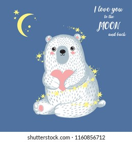 Vector illustration of sketch winter white bear with heart in his hands, stars, lettering i love you to the moon and back . Valentine's day greeting card. North Pole. More cute animals in my portfolio