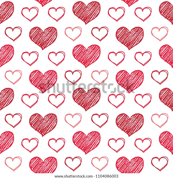 Vector illustration of sketched red heart pattern for Valentine's Day