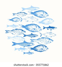 Vector illustration with sketches of fish. Round composition. Hand drawn seafood. Blue design.