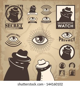 Vector Illustration of sketchy criminal, secret spy, government surveillance, private detective, undercover spy investigation, danger, villain, confidential information & neighborhood watch sign.Eps10