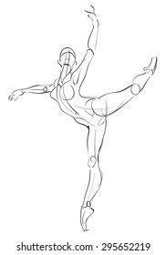 Vector illustration of sketchy female anatomy, ballet figures