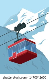 vector illustration of a ski lift gondola with mountains in the background