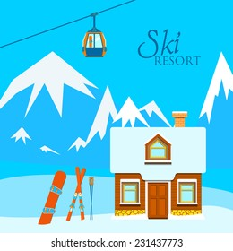 Vector illustration of a ski with skis, ski poles, wooden house, snowboarding, mountains and snow.