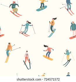 Vector illustration of skiers and snowboarders. Sports men and women in the ski resort. Trendy retro style. Seamless pattern.
