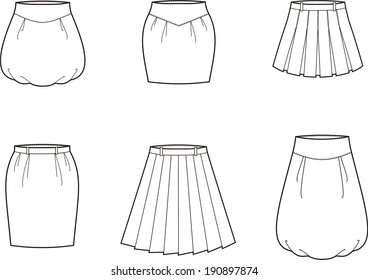 Vector illustration of skirts. Women's clothes