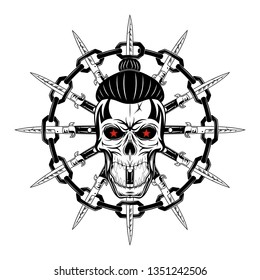 Vector illustration of a skull against flick knives and a chain. Style city. Youth underground culture. Dead head. Illustrations for t shirt print. Grunge print. Black tattoo. Vector illustration.