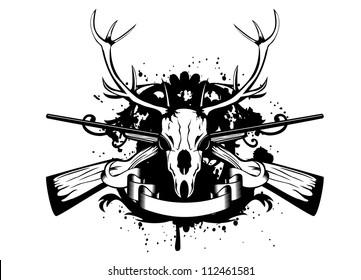Vector illustration  skull artiodactyl and crossed guns