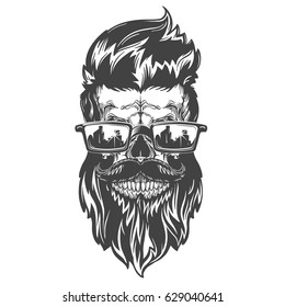 Vector illustration of skull with beard, mustache, hipster haircut and sunglasses. Isolated on white background.