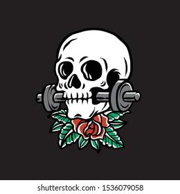 Vector illustration of a skull biting a barbell