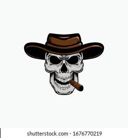 vector illustration skull cowboy head hat, eps 10
