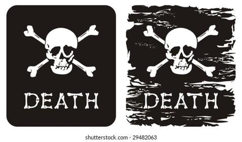 Vector illustration of skull, crossbones and word death.