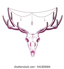 Vector illustration of skull deer. tattoo design. suspension and crystals