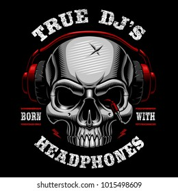 Vector illustration of skull dj. Shirt design on dark background. Text is on the separate layer.