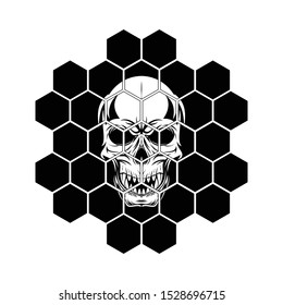 Vector illustration of a skull with fangs in a hexagonal mosaic. Head of the monster. Dead pirate. Laughing loudly skeleton. Illustrations for t shirt print. Black tattoo.