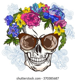 Vector Illustration of Skull and Flowers, Day of The Dead. Fashion t-shirt point. Summer bright background.
