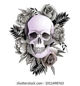 Vector illustration of skull with flowers isolated on white background. Peonies and roses with a skull.