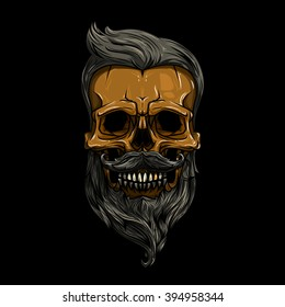 vector, illustration. skull with hair. skull hipster, skull vector, skull logo, skull art, skull sticker, skull character, skull cartoon, skull angry, skull beautiful, skull brutal