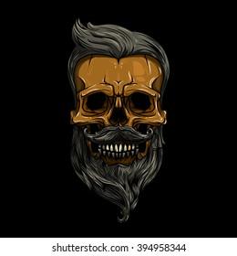 vector, illustration. skull with hair. skull hipster, skull vector, skull logo, skull art, skull sticker, skull character, skull cartoon, skull angry, skull beautiful, skull brutal