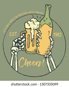 Vector illustration of skull hand cheers with beer bottle
