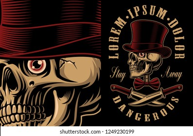 Vector illustration of a skull in hat with crossed knifes. T-shirt design. All elements, colours, text are on the separate groups.
