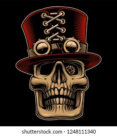 Vector illustration of skull in hat and eyeglasses in steampunk style on the dark background.
