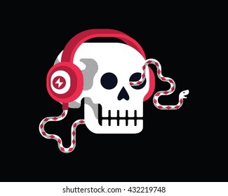 Vector illustration of  skull with headphones as snake.