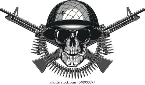 Vector illustration of skull in helmet soldier smoking a cigarette