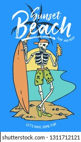 Vector illustration of skull holding a bottle of beer and surfboard on the tropical palm beach and sunset background