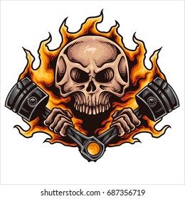 Vector illustration of skull holding two powerful hot piston with fire flame