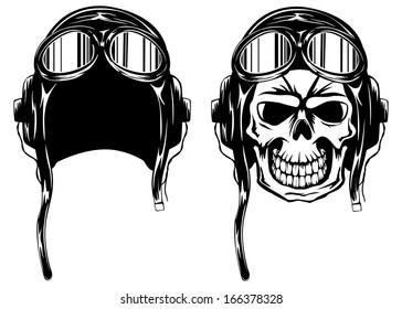 Vector illustration of skull of kamikaze in helmet and glasses