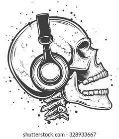Vector illustration of a skull listening to the music. Skeleton wearing headphones side view.