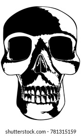 A vector illustration of a skull lit from  the bottom for extra spookiness. 11x17 aspect ratio,  single color.