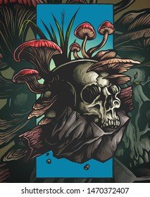 Vector Illustration of skull and nature environment with mushroom