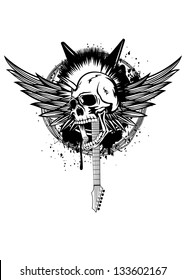 Vector illustration skull punk with wings, guitars and barbed wire
