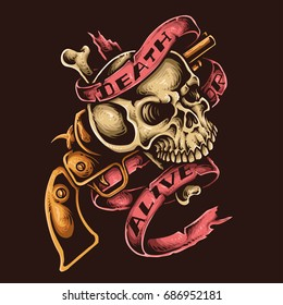 vector illustration of skull with revolver gun and ribbon tattoo style