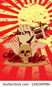 A vector illustration of a skull,  some roses,  and a hand holding a tattoo  gun in powerful  victory stance. Five warm colors in a grungy half-tone,  classic comic style 11x17 aspect ratio.
