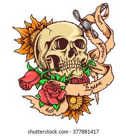Vector Illustration Of Skull Tattoo With Rose and Banner