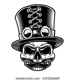 Vector illustration of a skull in top hat in steampunk style, isolated on the white background.