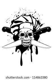 Vector  illustration skull in toque and crossed knifes