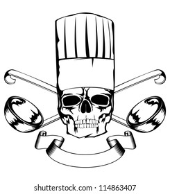 Vector  illustration skull in toque and crossed lables
