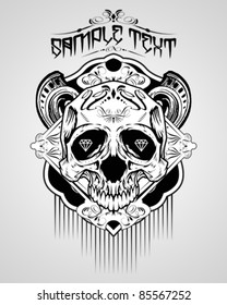 Vector Illustration : Skull T-shirt design logos