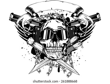 Vector illustration skull two pistols and crossed knifes